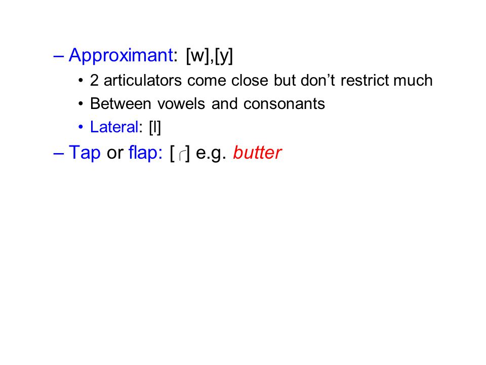 Tap or flap: [ ] e.g. butter